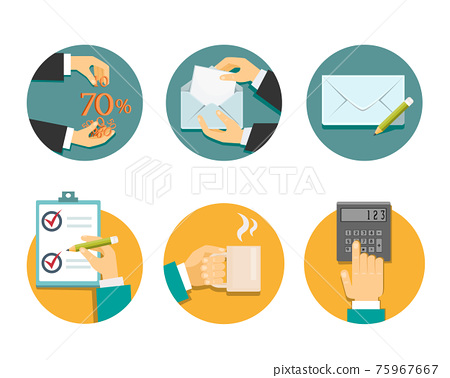 business hands with office objects vector illustration 75967667