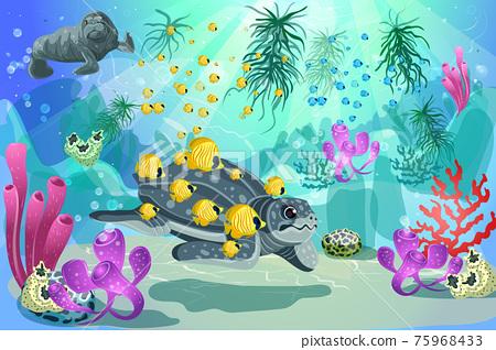 Colorful Underwater Marine Landscape Template 75968433