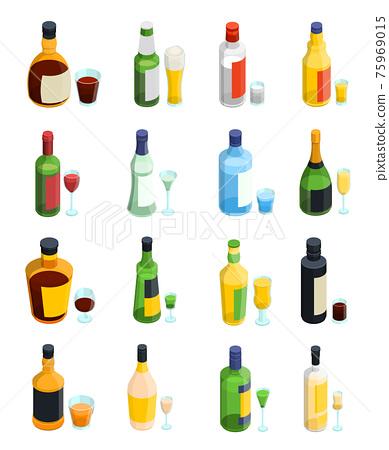 Colored Isometric Alcohol Icon Set 75969015