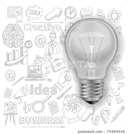 Creative Background With Lightbulb 75969448