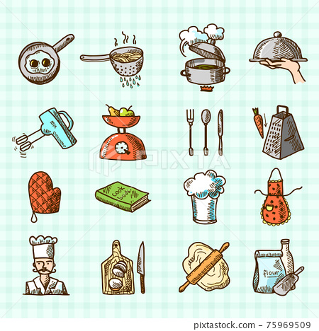 Cooking icons sketch 75969509