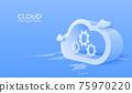 3d Cloud computing service management. Digital technology background. Vector art illustration 75970220