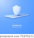 3D Mobile with shield security concept. Digital technology data protection. Application online safety concept. Vector art illustration background 75970221