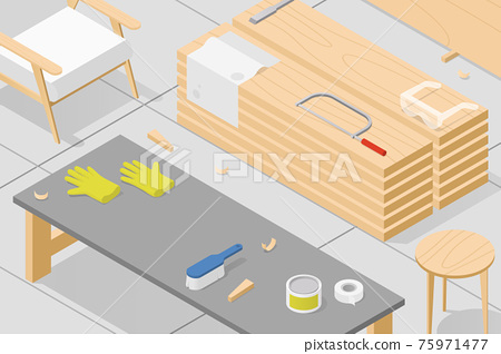Isometric Woodworking Workshop Illustration 75971477