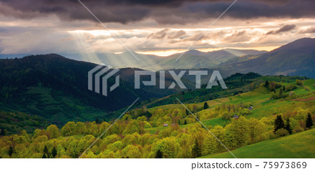 rural landscape in mountains at sunset. dramatic weather above the distant valley in springtime. green fields and trees on the hill. beautiful nature scenery with clouds on the sky 75973869