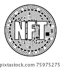 Cryptocurrency coin NFT outline 75975275