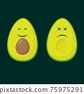 Avocado two smile colour flat silhouettes 75975291