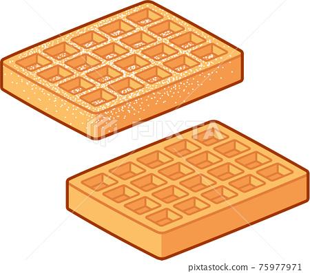 Cartoon Belgian waffles drawing 75977971