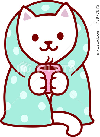 Cute cartoon cat in blanket 75977975