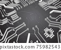 Circuit technology background with hi-tech digital data 75982543