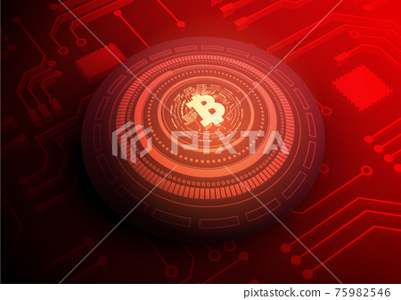 Bitcoin Circuit technology background with hi-tech digital 75982546