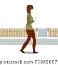 Woman Walking on Foot of The City Reading a Book  Vector Illustration. 75985607