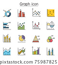 Graph, Chart, Diagram, Data icon filled outline style. Colorful Linear Set Vector Line Icon 75987825