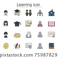 Learning, study, education icon set filled outline style. Colorful Linear Set Vector Line Icon 75987829