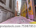 Pink Alley. Colorful (pink, purple and yellow) street wall. Vancouver, Canada.   75987853