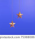 3d gold hanging star decoration 75988086