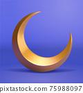 3d golden crescent moon 75988097