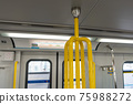 Close-up SkyTrain Canada Line subway carriage handrail. 75988272