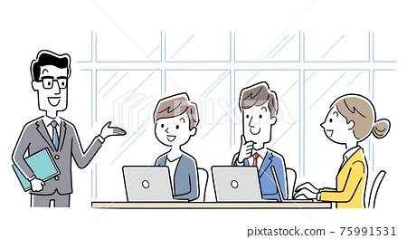 矢量圖素材:會議團隊,商業場景 75991531
