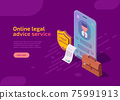 Online legal advice service isometric landing page 75991913