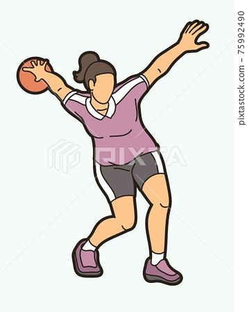 Bowling Sport Female Player Action Cartoon Graphic Vector 75992490