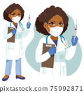 Female senior African American doctor with white lab coat holding Covid-19 vaccine and clipboard 75992871