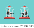 Business man and woman working at desk trapped inside birdcages 75992883