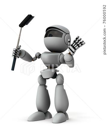 스마트 폰에서 셀카 로봇. 흰색 백. 3D 렌더링. 76000592