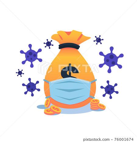 Money bag wearing face mask 76001674