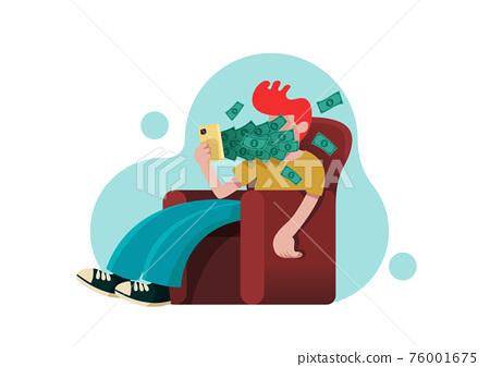Man on armchair with dollars bills flying 76001675