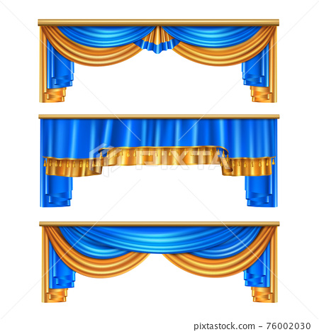 Draping Curtains Realistic Set 76002030