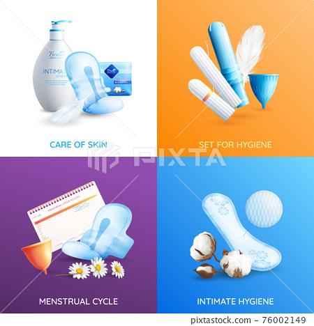 Feminine Hygiene Concept Icons Set 76002149