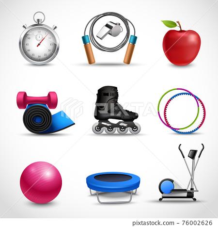 Fitness Icons Set 76002626