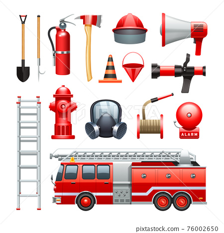 Firefighter Equipment And Machinery Icons Set 76002650