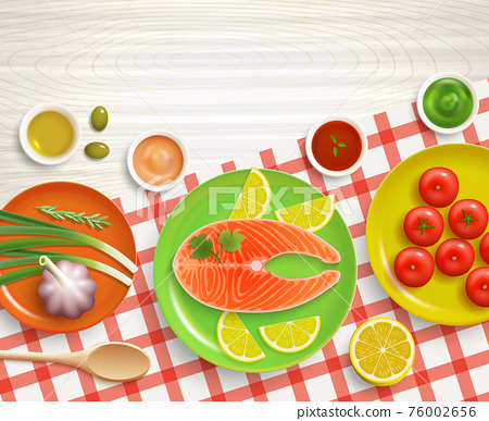 Flat Lay Cooking Tablecloth Wood Background 76002656