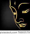 Golden buddha with paint golden border element isolate on black background 76003579