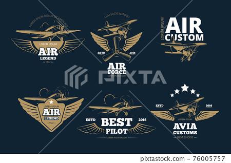 Flight adventures vector logos and labels 76005757