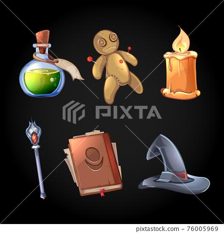 Fairy tale magic icons vector set in cartoon style 76005969