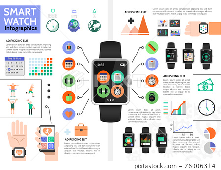 Flat Smart Watch Infographic Concept 76006314
