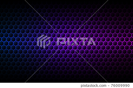 Hexagon purple background. Gradient cells texture. Futuristic color wallpaper. Modern neon design. Abstract geometric backdrop. Vector illustration 76009990