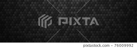 Hexagon abstract background. Black metal texture with 3d cells effect. Dark industrial banner with shadow. Wide futuristic carbon backdrop. Vector illustration 76009992