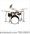 Vector illustration of high-quality detailed Acoustic Drum Kit .Showtime.Rock music ,Live music instruments.Close-up drum set. 76010843