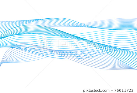 Abstract wave from curved lines of blue color on white background. Vector Illustration 76011722