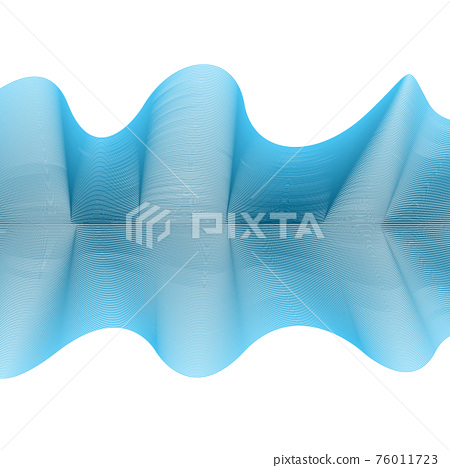 Abstract wave from curved lines of blue color on white background. Vector Illustration 76011723