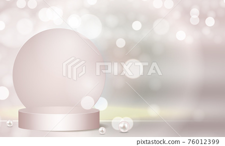 3d Background podium cylinder to show cosmetic product template. Vector Illustration 76012399