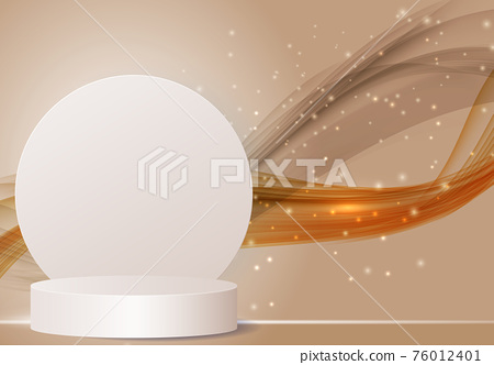 3d Background podium cylinder to show cosmetic product template. Vector Illustration 76012401