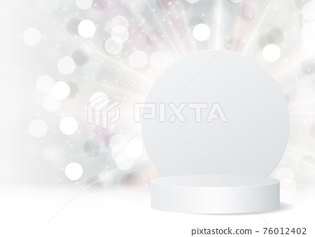 3d Background podium cylinder to show cosmetic product template. Vector Illustration 76012402