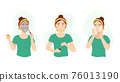 Cartoon Color Character Person Girl Care Her Face Concept. Vector 76013190