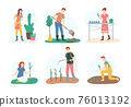 Cartoon Color Characters People and Gardening Concept. Vector 76013192