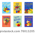 Cartoon Color Healthy Food Concept Template Poster Banner Card Set. Vector 76013205
